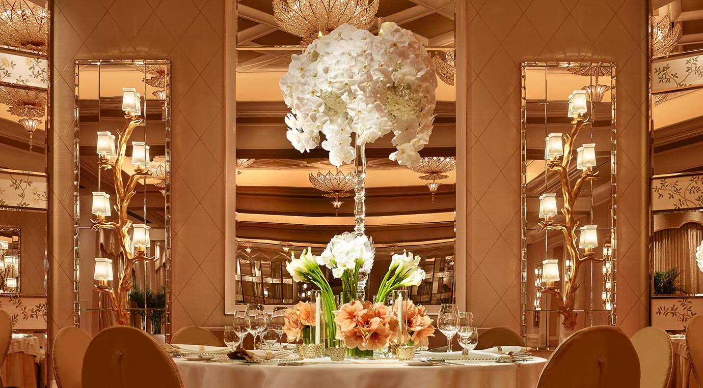 Wynn Palace S Grand Theater Ballroom Was Designed With Lavish Ceremonies In Mind Offering Banquet Style Seating For 960 Guests Our Dedicated Wedding